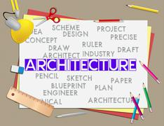 Architecture Words Show Structure Architects And Building Piirros
