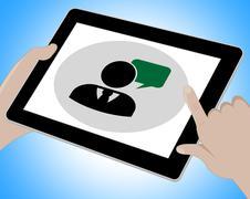 Voip Tablet Means Broadband Telephony 3d Illustration Stock Illustration