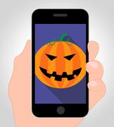 Halloween Pumpkin Online Indicates Trick Or Treat Cellphone Stock Illustration