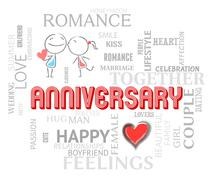 Anniversary Words Mean Loving Affection And Romance Stock Illustration