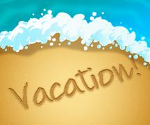 Vacation Beach Indicates Getaway Holiday 3d Illustration Piirros