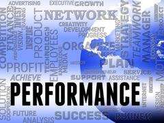 Performance Words Show Progress Review And Evaluation Stock Illustration