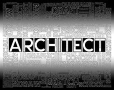 Architect Words Shows Desigher Occupation And Job Stock Illustration