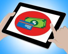 Dollars Tablet Indicates United States Money 3d Illustration Stock Illustration