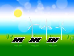 Solar Wind Power Means Renewable Resources And Energy Piirros