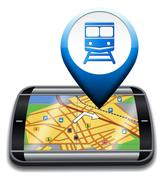 Railway Station Gps Represents Rail Direction And Journey Stock Illustration