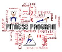 Fitness Program Indicates Working Out And Aerobics Stock Illustration