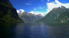 New Zealand National Landmark Mitre Peak in scenic holiday destination of Stock Footage