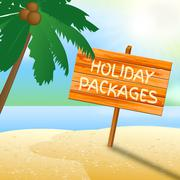 Holiday Packages Indicates Fully Inclusive Vacation Tours Stock Illustration