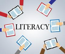 Literacy Books Shows Reading And Writing Ability Stock Illustration