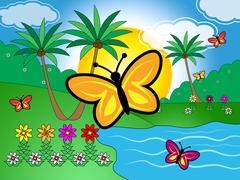 Butterflies On Lake Indicates Scenic Tranquil Green Countryside Stock Illustration