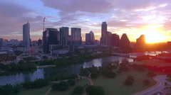 Drone Time Lapse Downtown Austin with Rowers in Lake Stock Footage