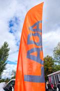 Official dealership flags of car manufacturer Lada Stock Photos