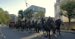 Parade of horse back police in the City of London Stock Footage