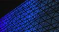 LED illumination on big shopping mall, blue lighting on building, Christmas mood HD Footage