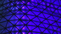 Blue illumination on glass, closeup of decoration details. Holiday atmosphere Stock Footage