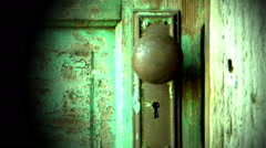 Computer generated animation of an old wooden door opening to green screen Stock Footage