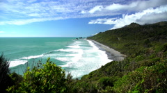 Tasman Sea on Westland Coastline of remote travel destination Paparoa National Stock Footage