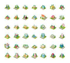 Big set vector isometrics building with arranged territory Stock Illustration