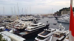 Panoramic View Of The Monaco Yacht Show 2016 Stock Footage