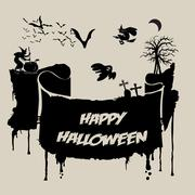 Abstract Halloween Background - Various Spooky Creatures in the Dark Stock Illustration