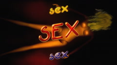 Neon text on off sex doll Stock Footage