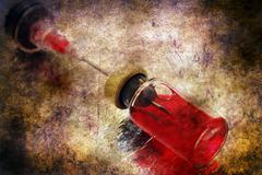 Syringe and blood vial grunge concept Stock Illustration