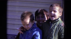 1967: mom and sons are saying hi LINCOLN, NEBRASKA Stock Footage