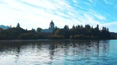 Washington State Capitol Judicial and Legislative Buildings Birds Fly By Lake Stock Footage