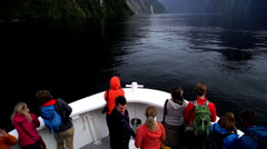 Boat tour through scenic landscape of Milford Sound Piopiotahi Fjord with Mitre Stock Footage
