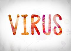 Virus Concept Watercolor Word Art Stock Illustration