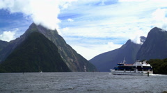 Boat tour through scenic holiday destination and New Zealand National Landmark Stock Footage
