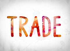 Trade Concept Watercolor Word Art Stock Illustration