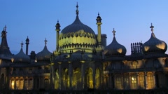 View of the Brighton pavilion floodlit at night Stock Footage