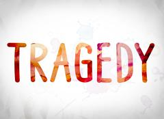 Tragedy Concept Watercolor Word Art Stock Illustration
