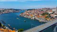 Porto old city day time landscape, Portugal Stock Footage
