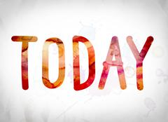 Today Concept Watercolor Word Art Stock Illustration
