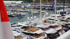 Largest Megayachts At The Monaco Yacht Show 2016 - 4K Video Stock Footage
