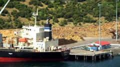 Log grabber loading timber cargo on Bulk Carrier in dock at Lumberyard Picton Stock Footage