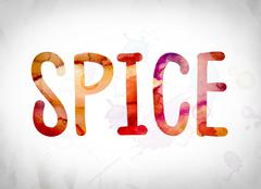 Spice Concept Watercolor Word Art Stock Illustration