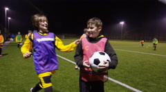 March 2016. Portrait happy young soccer players training with their team Stock Footage