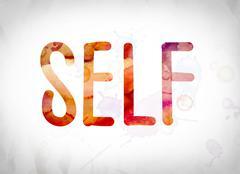 Self Concept Watercolor Word Art Stock Illustration