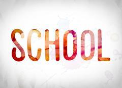 School Concept Watercolor Word Art Stock Illustration