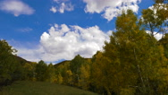 Time Lapse Clouds Over Mountain Landscape Autumn Fall Golden Leaves Stock Footage