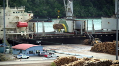 Bulk Carrier loading timber cargo in dock at Lumberyard Picton South Island New Stock Footage