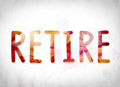 Retire Concept Watercolor Word Art Stock Illustration