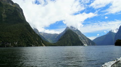 Time lapse of scenic World Heritage Site Milford Sound Piopiotahi Fjord with Stock Footage