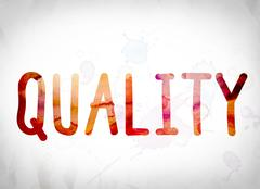 Quality Concept Watercolor Word Art Stock Illustration