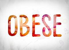Obese Concept Watercolor Word Art Stock Illustration