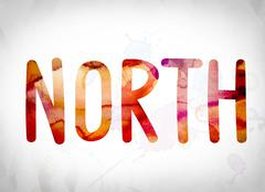 North Concept Watercolor Word Art Stock Illustration